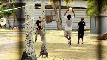 Asylum seekers during recreational time at Nauru detention centre.