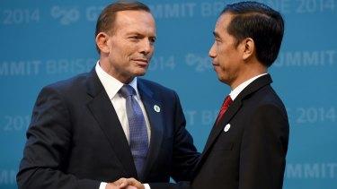 Tony Abbott and Joko Widodo at the G20 in November last year.