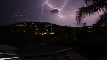 Lightning over Newport in Sydney's north.
