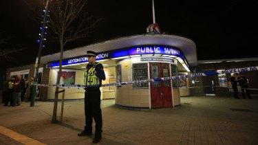 Police cordon off Leytonstone Underground Station in east London.