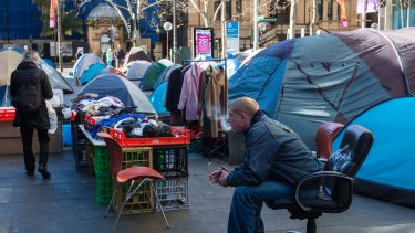 The tent city in front of the Reserve Bank of Australia in Martin Place came into the spotlight during National Homelessness Week.