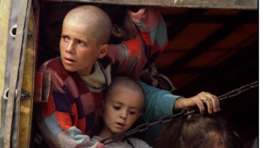 Bosnian Muslim children, refugees from Srebrenica in 1995.