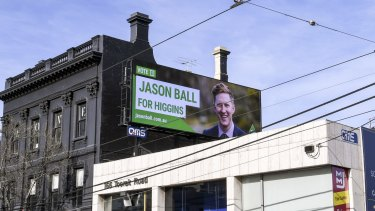 Mr Ball's poster on Toorak Road, South Yarra.