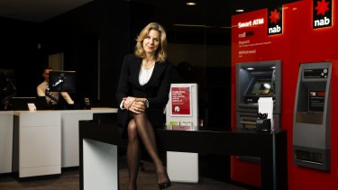 Melissa Reynolds, NAB executive general manager retail, in the new-look NAB bank. The roll-out started in Chatswood and will go through the nation.