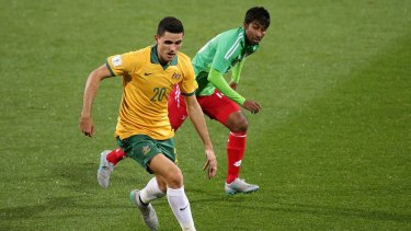 Tom Rogic of Australia controls the ball during the World Cup qualifier against Bangladesh in Perth last month.