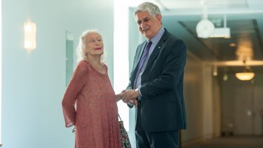 Eileen Kramer met with Minister for Aged Care Ken Wyatt at Parliament House.