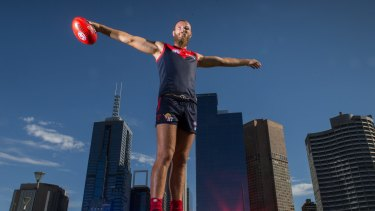 Big unit: Max Gawn displays his impressive wingspan