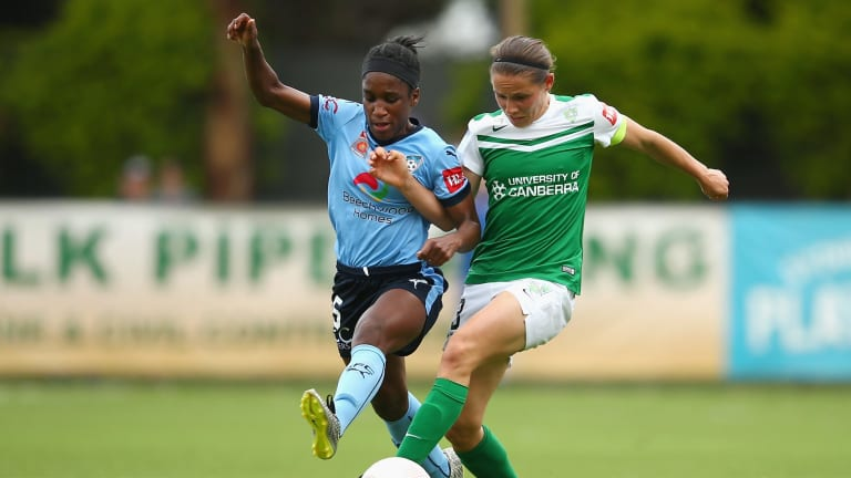Jasmyne Spencer played for Sydney FC against Canberra United last year.