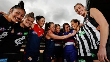 Marquee players Darcy Vescio and Briana Davey of the Blues, Demons Melissa Hickey and Daisy Pearce, Bulldogs Katie Brennan and Ellie Blackburn and Magpies Moana Hope and Emma King