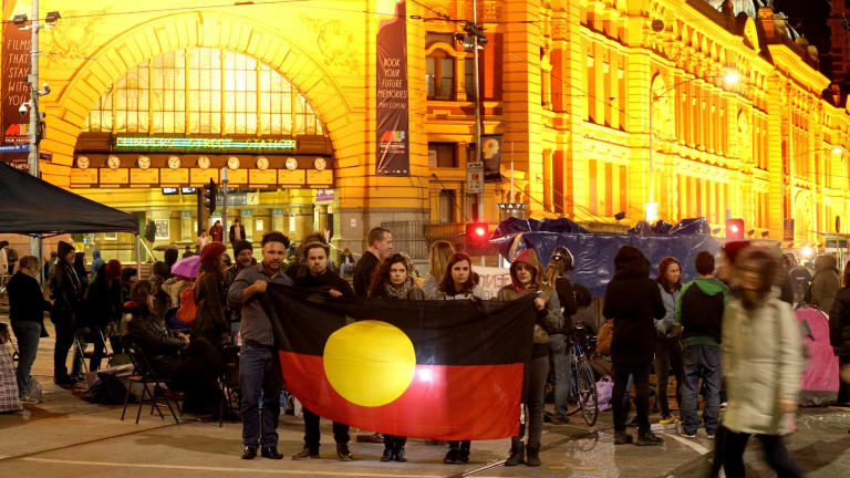 The protest outside Flinders Street station on Saturday night over the treatment of Indigenous youth in detention.
