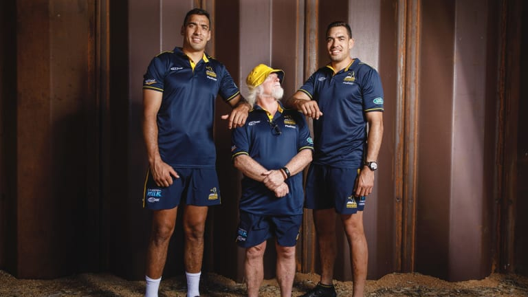 Twin coup: Richie and Rory Arnold with Brumbies forwards coach Laurie Fisher.