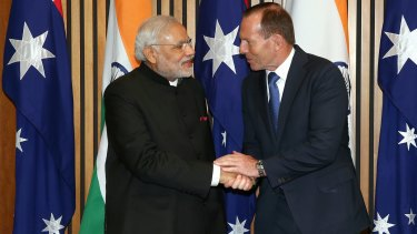 Narendra Modi and Tony Abbott in Parliament House on Tuesday morning.