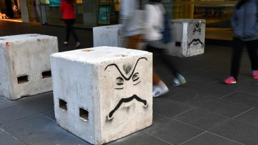 Melbourne's temporary bollards might not stop a car, experts fear.