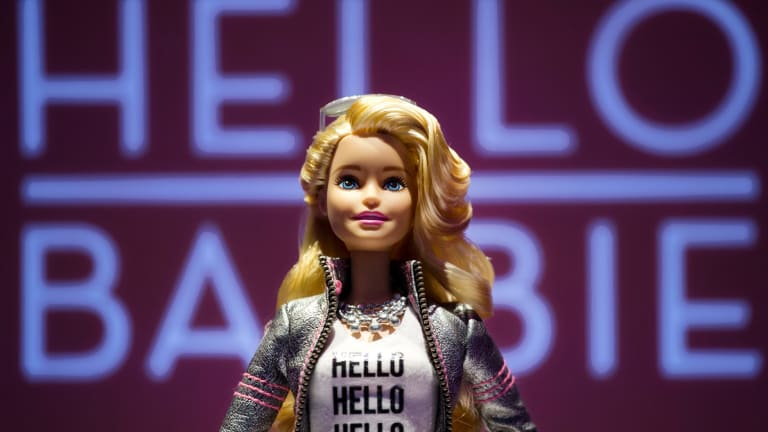 """Hello Barbie, satirised as """"Surveillance Barbie"""",  is Wi-Fi enabled and can record and store conversations between kids and their dolls."""