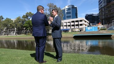 Deputy Premier and Minister for the Arts Troy Grant with NSW Premier Mike Baird.