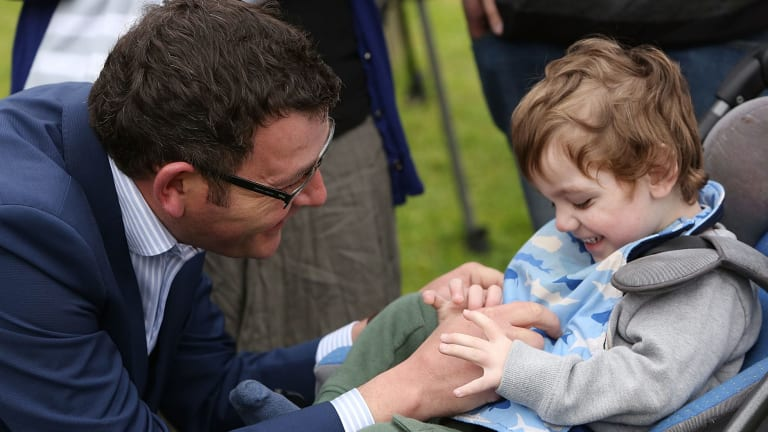 Daniel Andrews with Cooper Wallace before the Victorian election. The now Premier is pushing for a bill to legalise medical marijuana before parliament before the end of next year.
