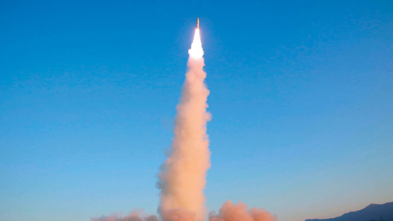 A North Korean Pukguksong-2 test is launched as part of the regime's escalating ballistics and nuclear missile program.