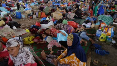 Evacuees stay at a crowded evacuation centre on the outskirts of Marawi city, southern Philippines.