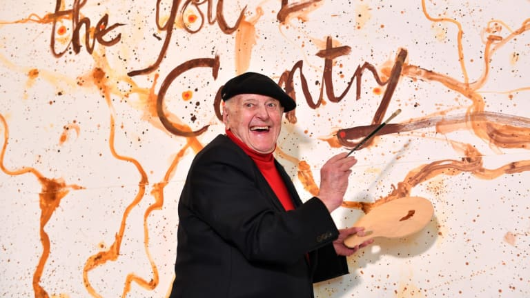 """John Olsen at the opening of an exhibition of his work last year. He decried this year's Archibald decision as the """"worst ever""""."""