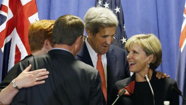 US Secretary of State John Kerry, second from right, stands with Australia's Foreign Minister Julie Bishop, right, US Secretary of Defence Ash Carter, second from left, and Australian Defence Minister Marise Payne, in Boston on Tuesday.