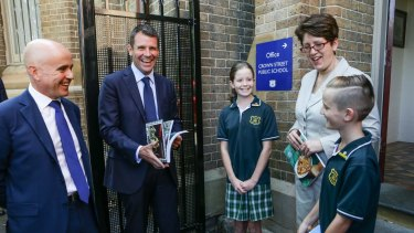 Education Minister Adrian Piccoli and NSW Premier Mike Baird at Crown Street Public School in March.
