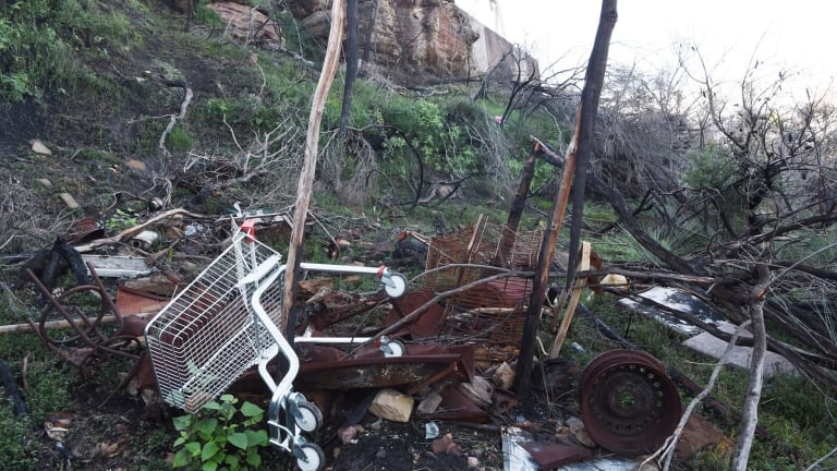 Dumped shopping trolleys, plastic and car parts in Belrose, Sydney.