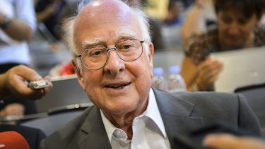 British scientist Peter Higgs, whose theoretical work predicted the Higgs boson.