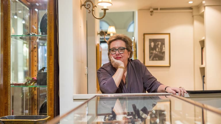 Dazzling past: Kirsten Albrecht, owner of Kozminsky jewellers, in her Bourke Street store, which closes on February 10.