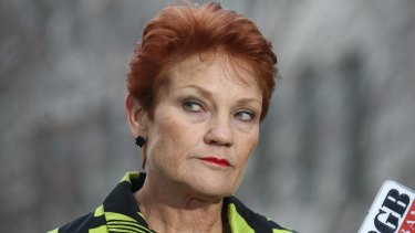 One Nation senator Pauline Hanson.