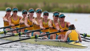 The Australian women's eight team at the London Games.