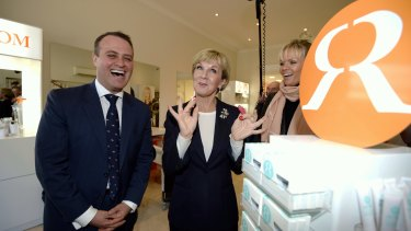 Foreign Minister Julie Bishop campaigning with candidate for Goldstein Tim Wilson in Hampton St, Hampton. Alex Fevola gave them a look around her business Runway Room.