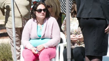 Peta-Ann Francis, the mother of Nikki Francis-Coslovich, at the girl's funeral in Mildura on Tuesday.