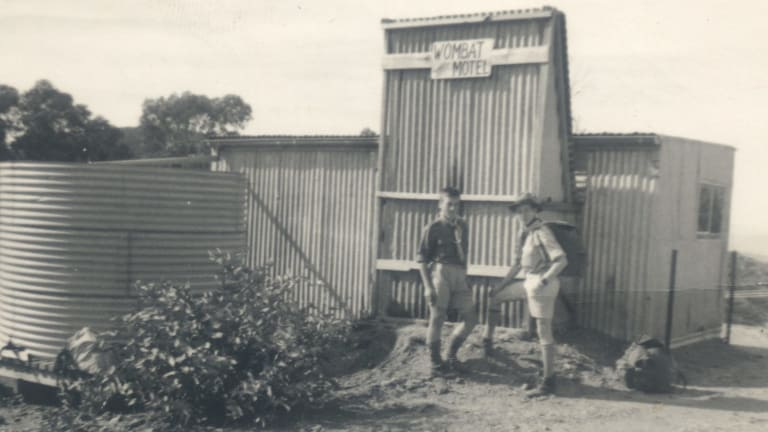 The Wombat Hotel photographed in 1961 with scouts Paul Gottleib and John Granger of the 4th Canberra Troop which met in the hall on the corner of Flinders Way and La Perouse St, Griffith.