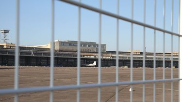 Berlin's Tempelhof Airport, the disused airport of Nazi Germany, where more than 1000 refugees are being housed.