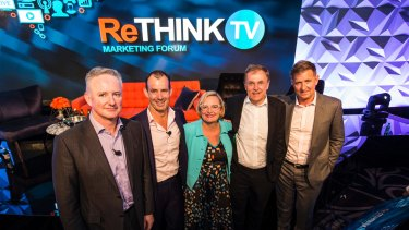 Chief executives (left to right) Nine's Hugh Marks, Ten's Paul Anderson, ThinkTV's Kim Portrate, Foxtel's Peter Tonagh and Seven's Tim Worner at the first ThinkTV conference.