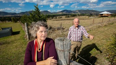 Denise and Bruce Gilbert on their property near Gloucester, which overlooks the proposed Rocky Hill coal mine.