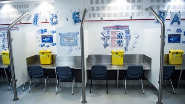 The injecting room at the Medically Supervised Injecting Centre in Kings Cross, where there are waste bins for used equipment and a resuscitation room.