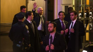 Vice President-elect Mike Pence leaves the Richard Rodgers Theatre in New York after a performance of <i>Hamilton</i>.