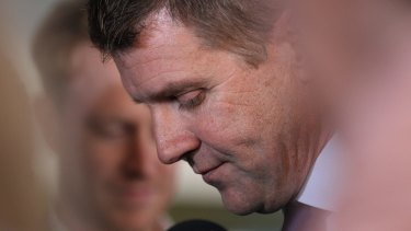 NSW Premier Mike Baird at a press conference prior to calling on two former Liberal MPs to resign from NSW Parliament.