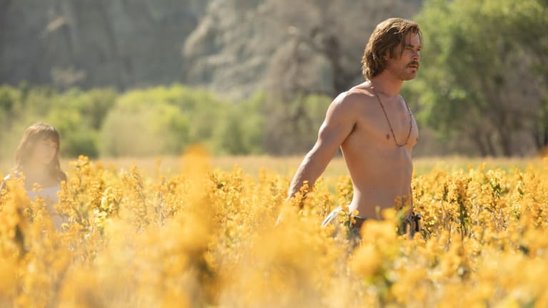 Chris Hemsworth has his moments as Billy Lee in <i>Bad Times at the El Royale</i>.