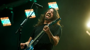 Dave Grohl fronting the Foo Fighters at NIB Stadium on Saturday night.