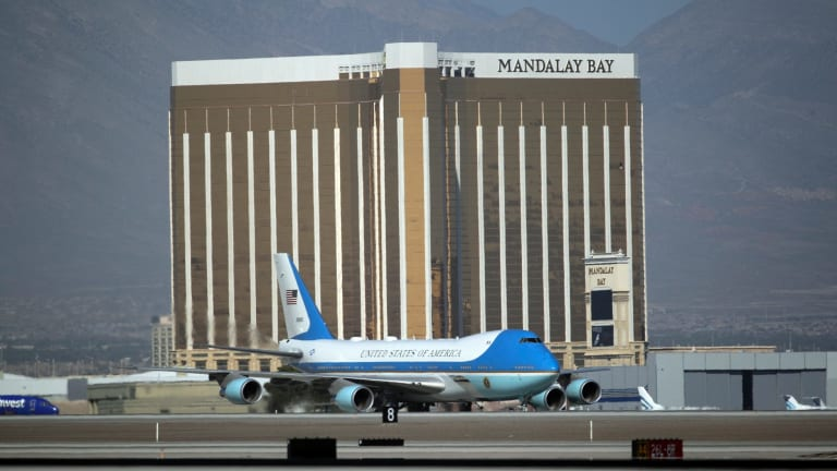 Air Force One carrying US President Donald  Trump taxis on the runway in front of the Mandalay Bay hotel on Wednesday.