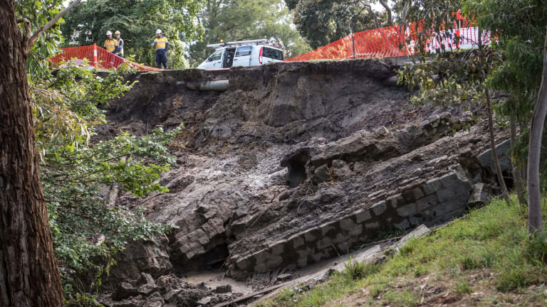 A huge landslide blocked Warrigal Road completely in the wake of the storm.