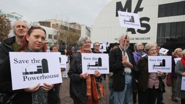 Crowds gather at the Save the Powerhouse rally outside the museum's Ultimo site earlier this year.