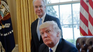 US President Donald Trump with then Health and Human Services Secretary Tom Price in the Oval Office in March.