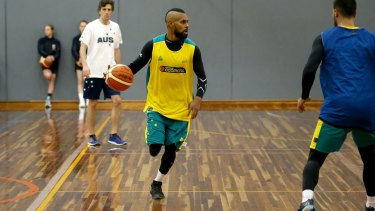 NBA veteran: Patty Mills dribbles during the Boomers' Olympic camp in Melbourne.