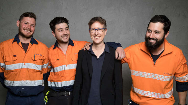Head of the ACTU, Sally McManus, with Adam Simpson, Jordan Waddell and Darren Gray, in Sydney after the MoU between unions and the Naval Group was signed
