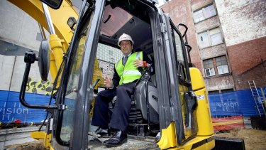 Opposition Leader Matthew Guy looks as silly in a hi-vis vest as his mandatory sentences plan.
