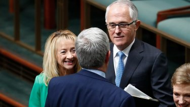 Chief Government Whip Nola Marino and Prime Minister Malcolm Turnbull.