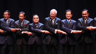 ASEAN leaders: from left, Cambodian Prime Minister Hun Sen, Brunei's Sultan Hassanal Bolkiah, Laos' PM Thongsing Thammavong, Malaysian PM Najib Razak, Vietnamese PM Nguyen Tan Dung and Thai PM Prayut Chan-o-cha.